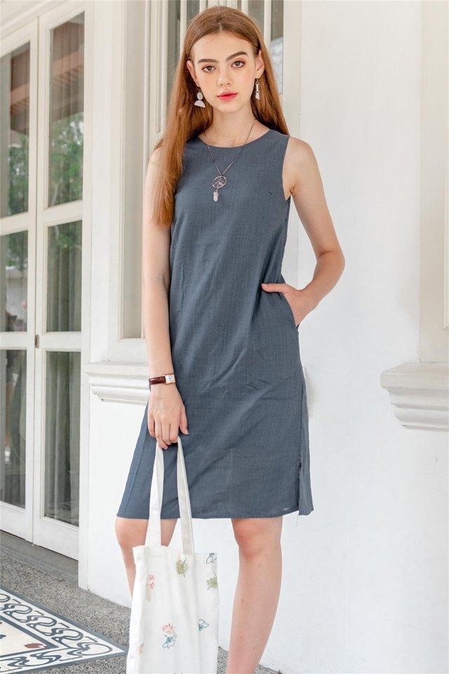 ACW Linen Basic Midi Dress in Ash Blue
