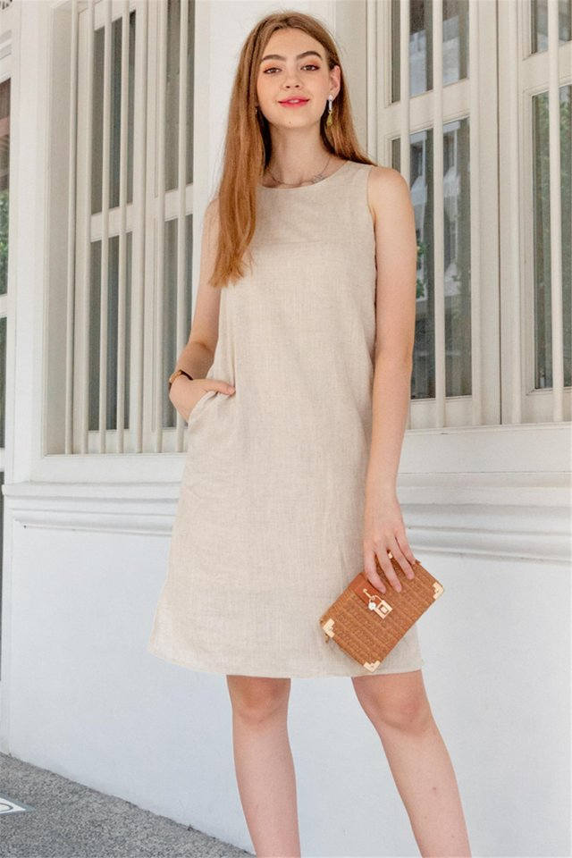 ACW Linen Basic Midi Dress in Sand