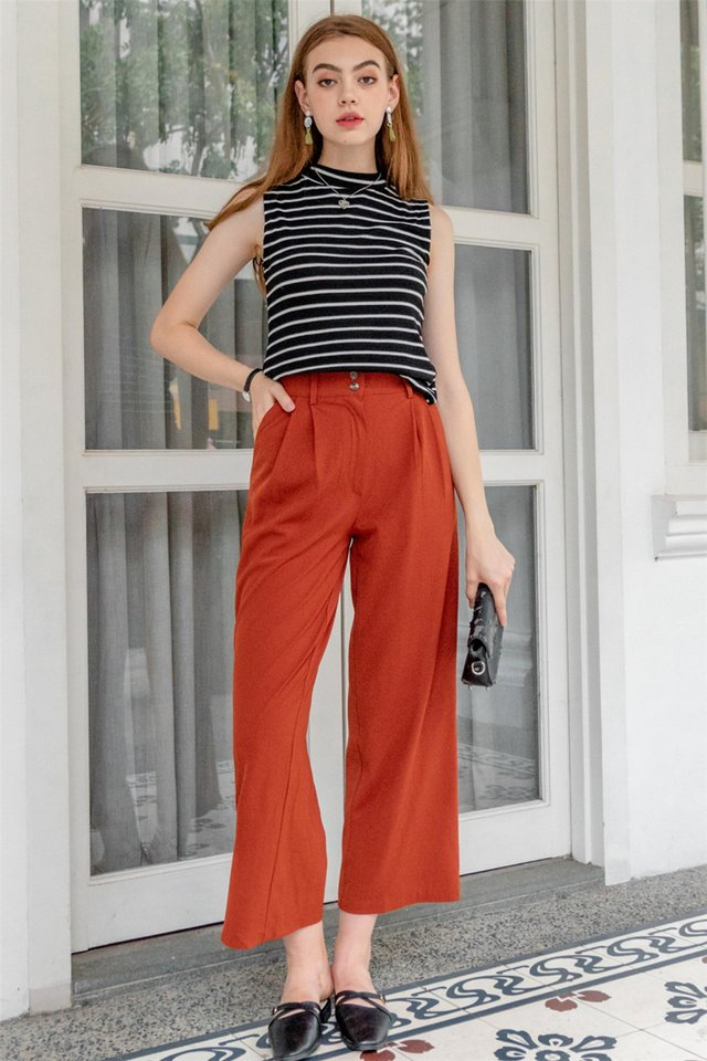Double Button Flare Trousers in Rust