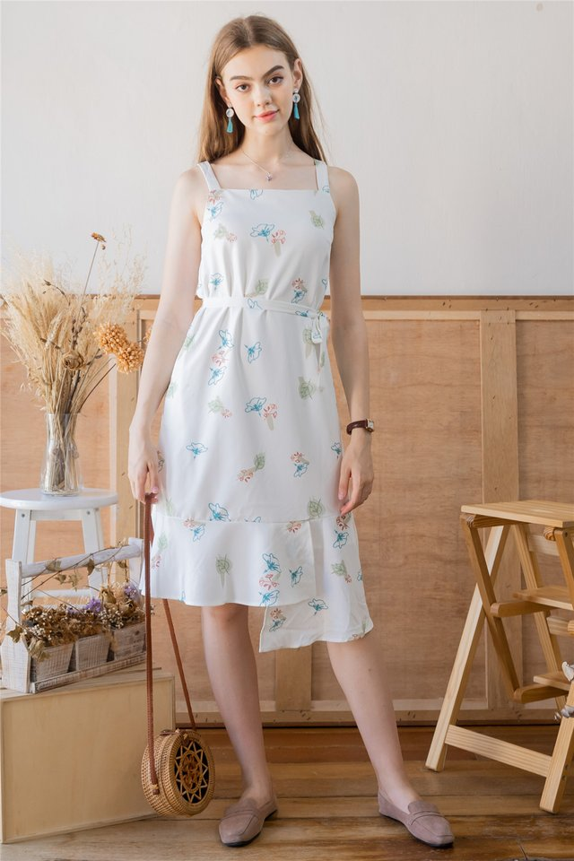 ACW Autumn Floral Tiered Midi Dress in White