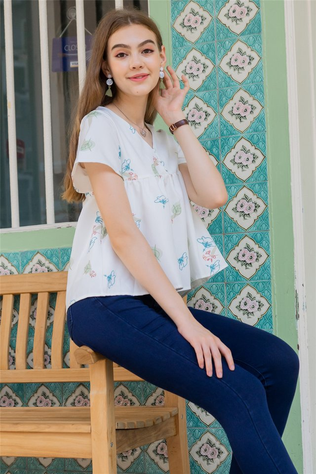 ACW Autumn Floral Button Down Babydoll Top in White