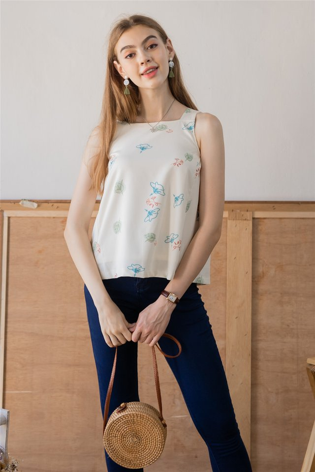 ACW Autumn Floral Cut In Top in Ivory