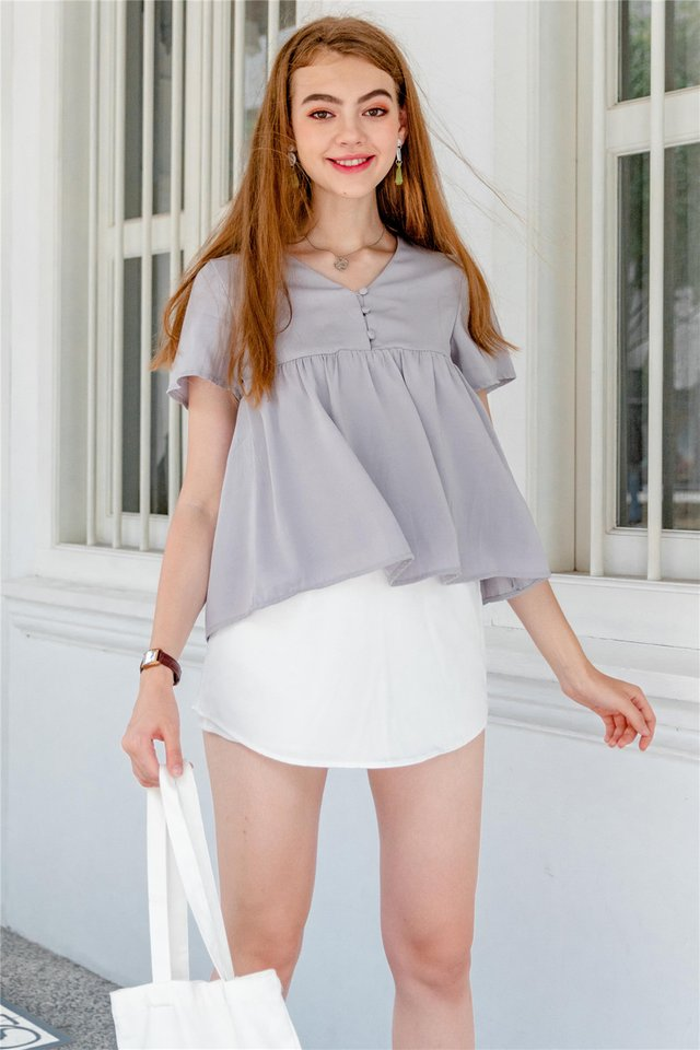 *BACK IN STOCK* ACW Button Down Babydoll Top in Dusty Grey