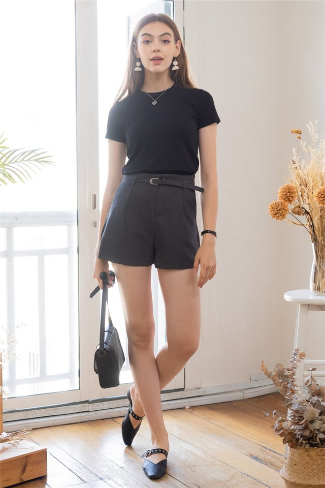 Belted Structured High Waisted Shorts in Grey
