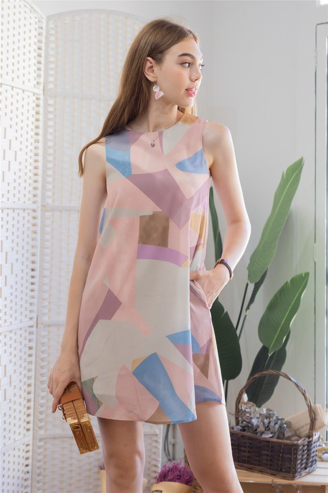 ACW Abstract Shapes Trapeze Dress in Dusty Pink