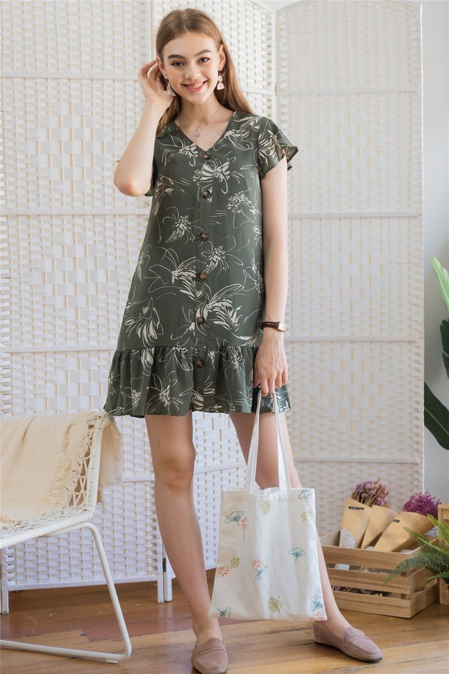 ACW Monochrome Floral Flutter Hem Dress in Olive