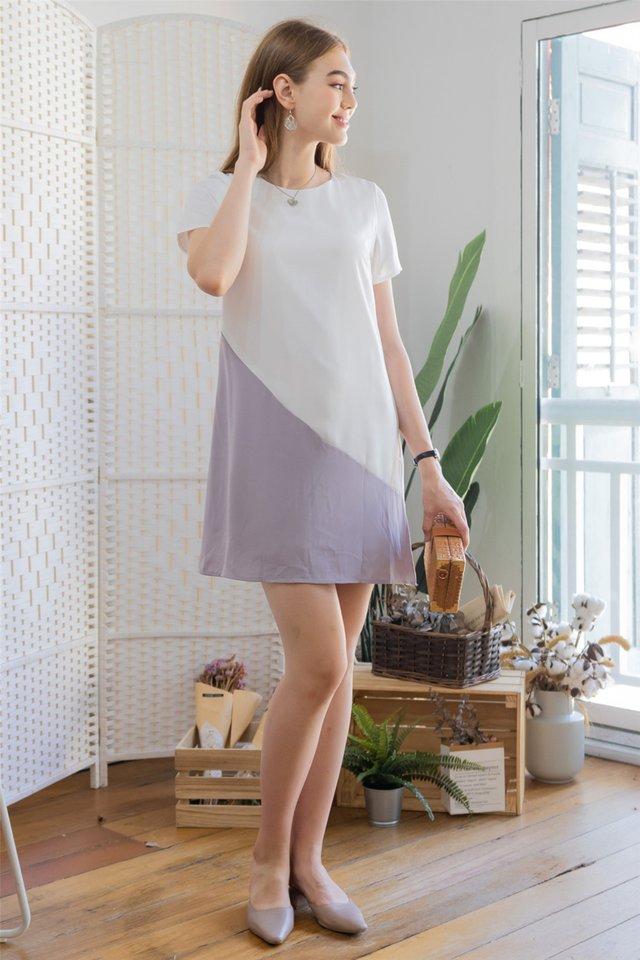 ACW Sleeve Colourblock Shift Dress in White-Dusty Grey
