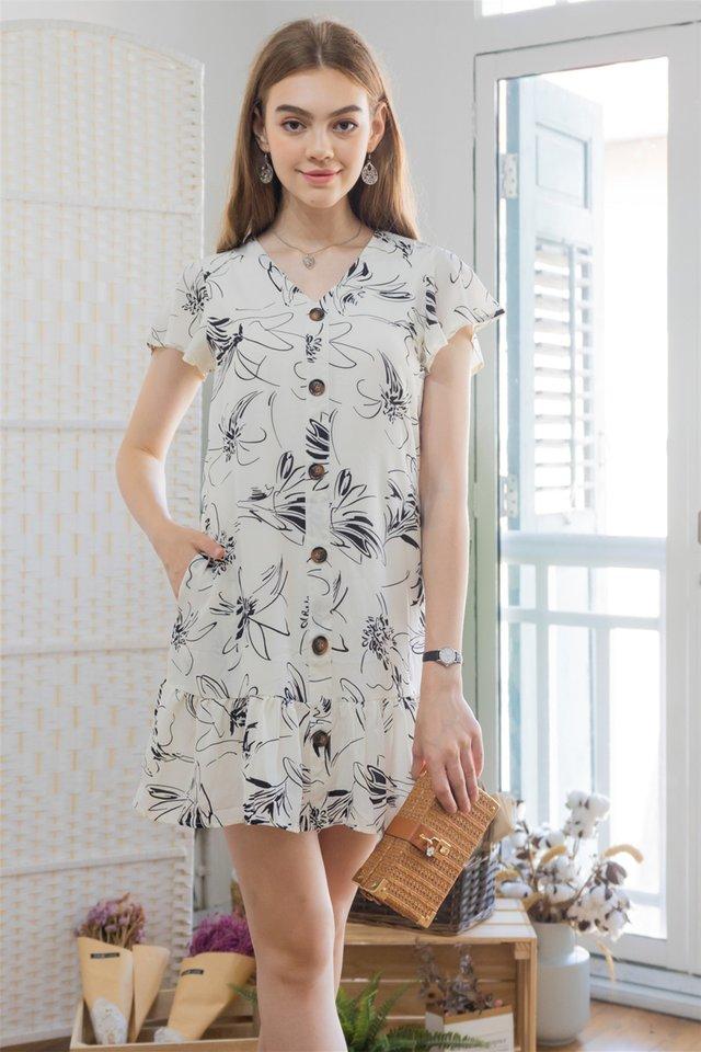 ACW Monochrome Floral Flutter Hem Dress in Ivory
