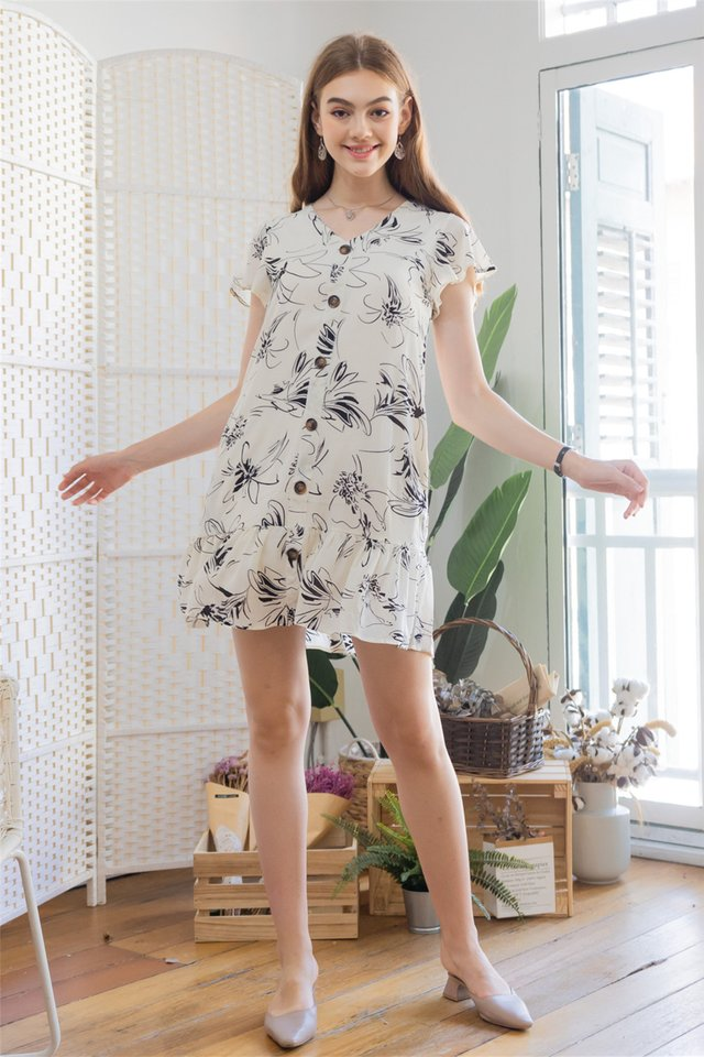ACW Monochrome Floral Flutter Hem Dress in Ivory