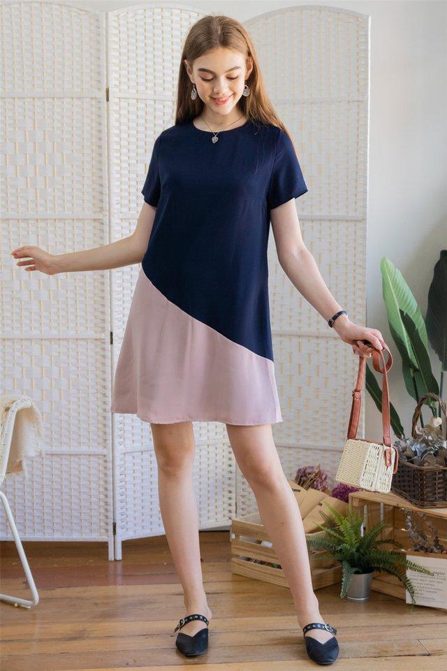 ACW Sleeve Colourblock Shift Dress in Navy-Pink