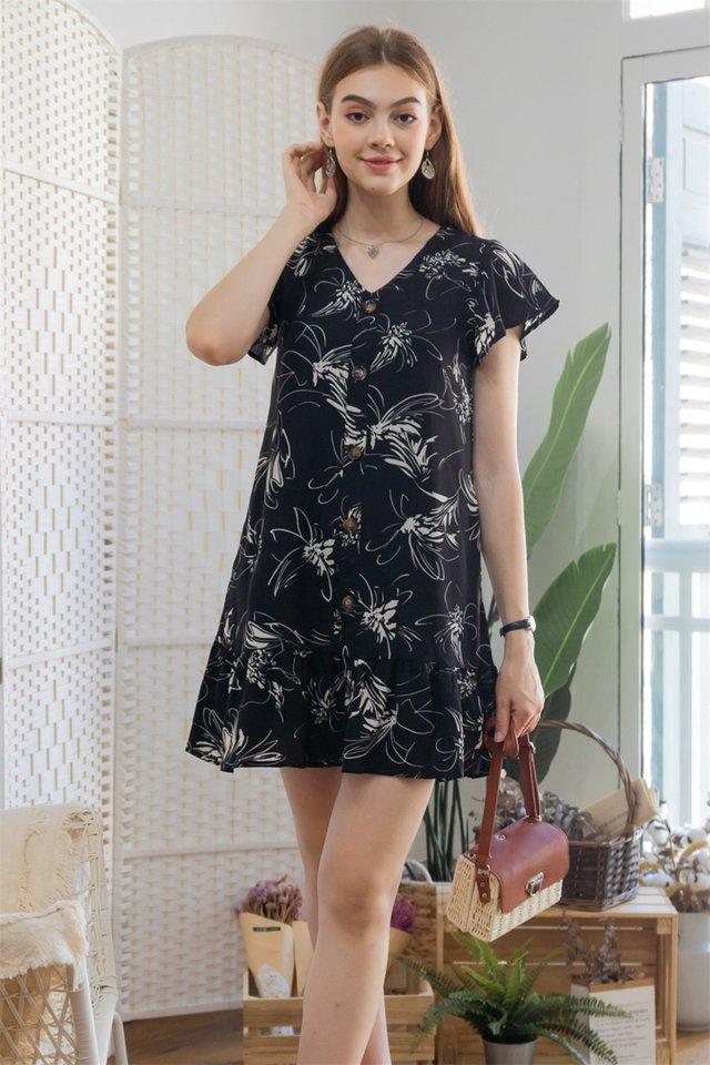 ACW Monochrome Floral Flutter Hem Dress in Black