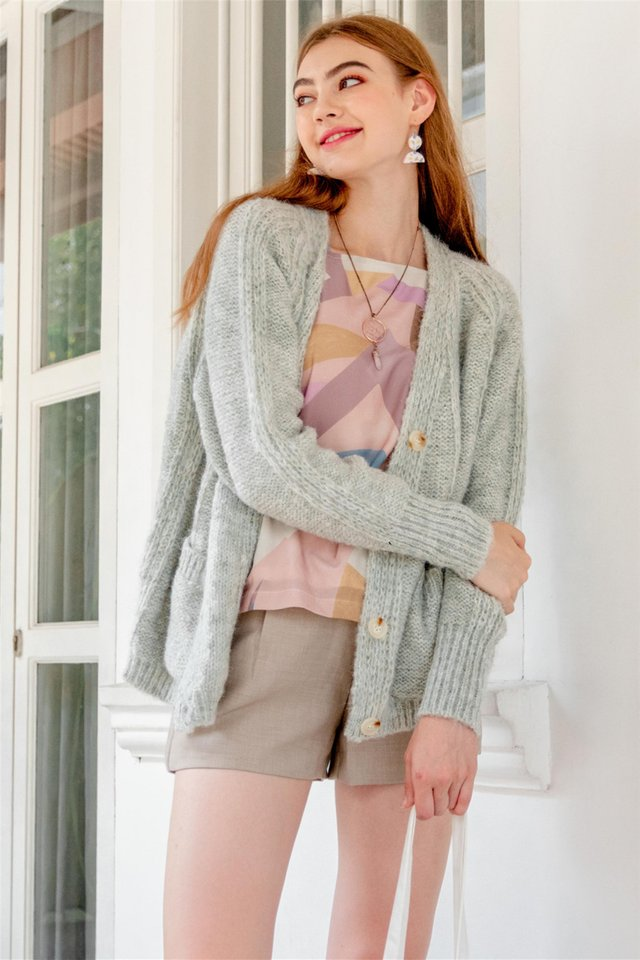 Oversized Soft Slouchy Knit Cardigan in Grey
