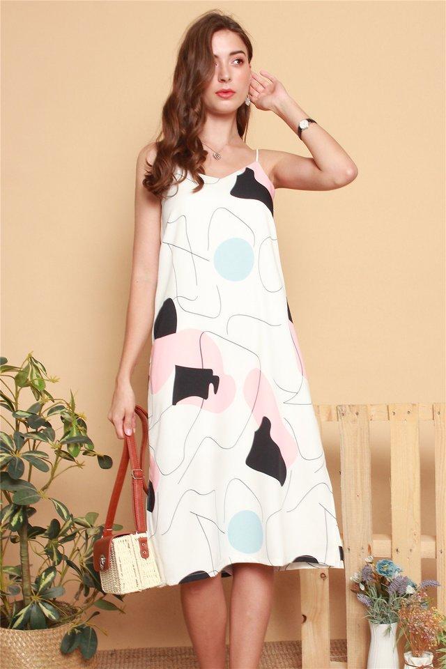 Geometric Shapes Midi Slip Dress in White