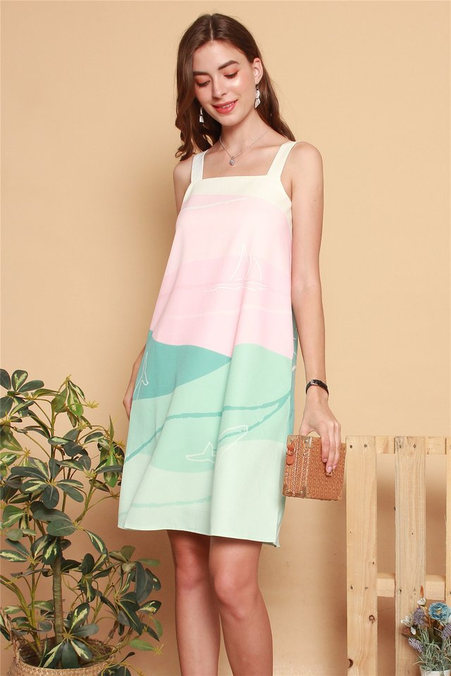 Whale Prints Cut In Dress in Mint