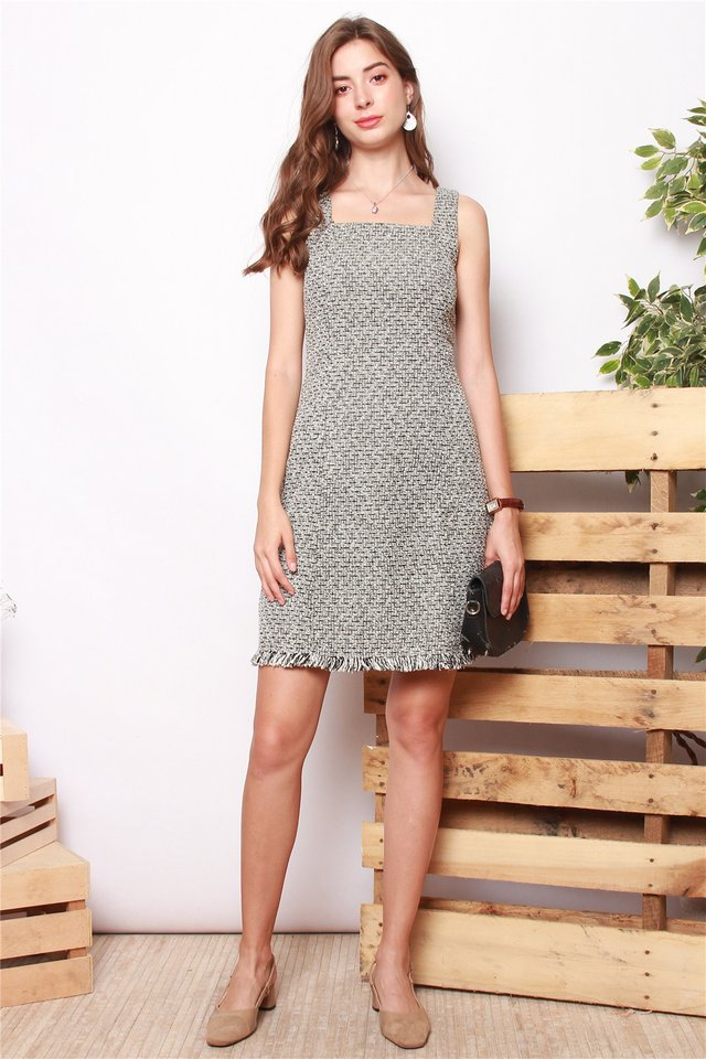 Textured Tweed Square Neck Work Dress