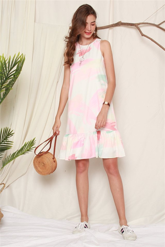 Paintstrokes Dropwaist Midi Dress