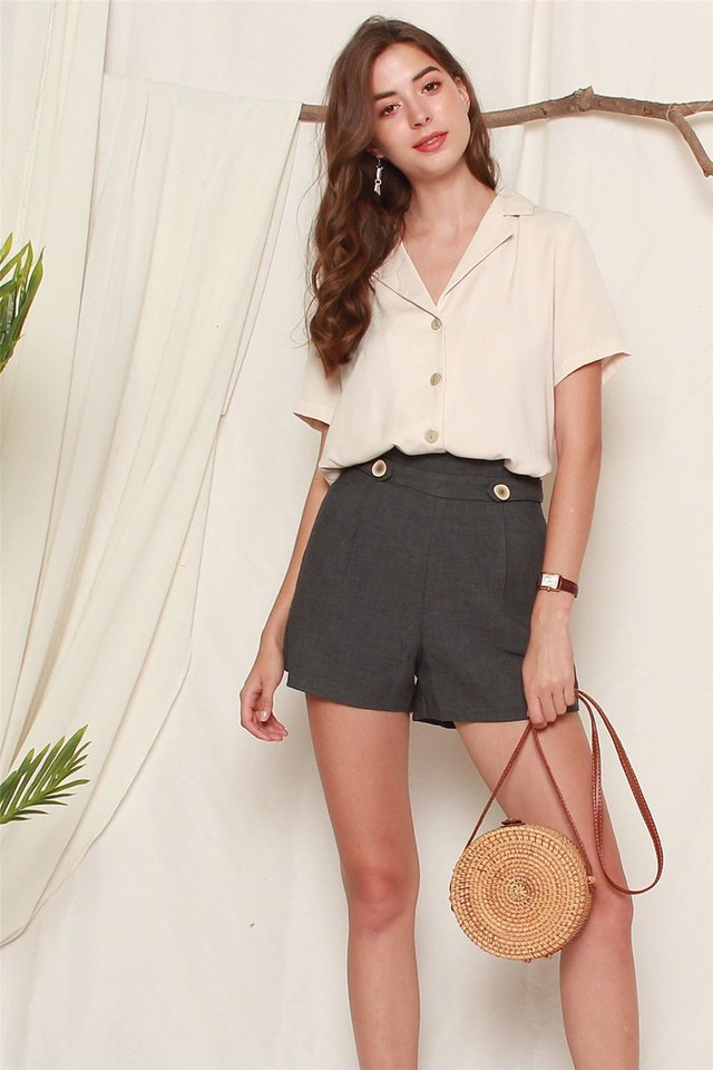 Double Button High Waist Shorts in Grey