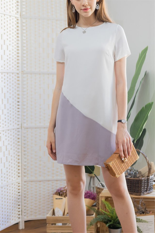 ACW Sleeve Colourblock Shift Dress in White-Dusty Grey