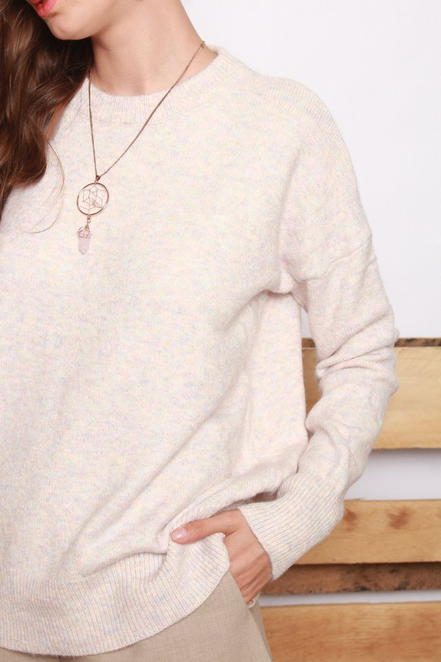 *Backorder 2* Coloured Speckle Knit Sweater in Dusty Pink