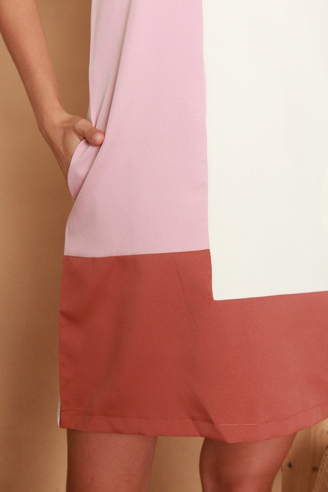 Colourblock Panels Shift Dress in Rust-Dusty Pink