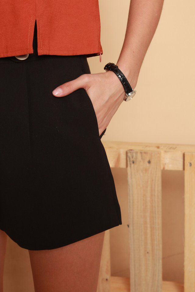 Double Button High Waist Shorts in Black