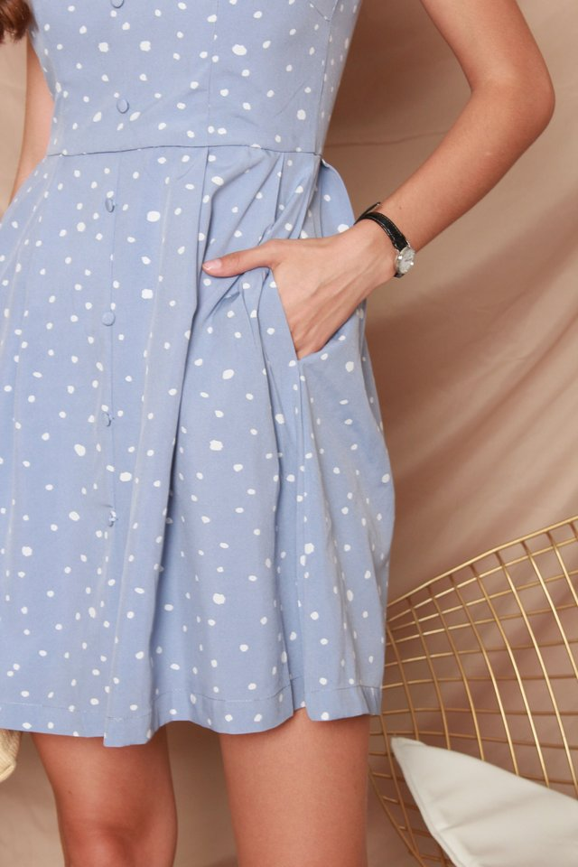 ACW Button Babydoll Polka Dot Dress in Blue