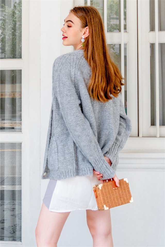 Oversized Soft Slouchy Knit Cardigan in Blue