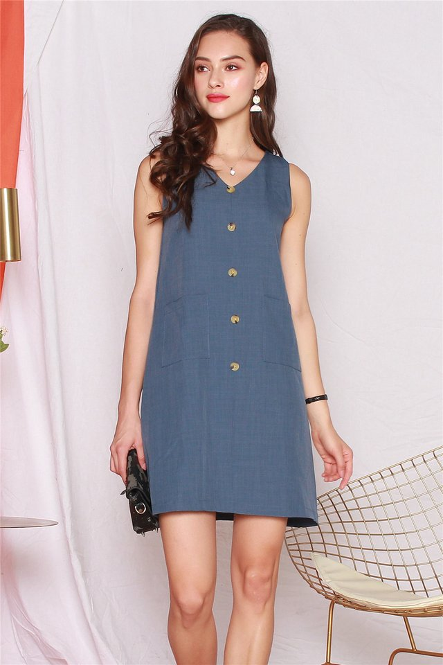 Button Panel Pocket Shift Dress in Ash Blue