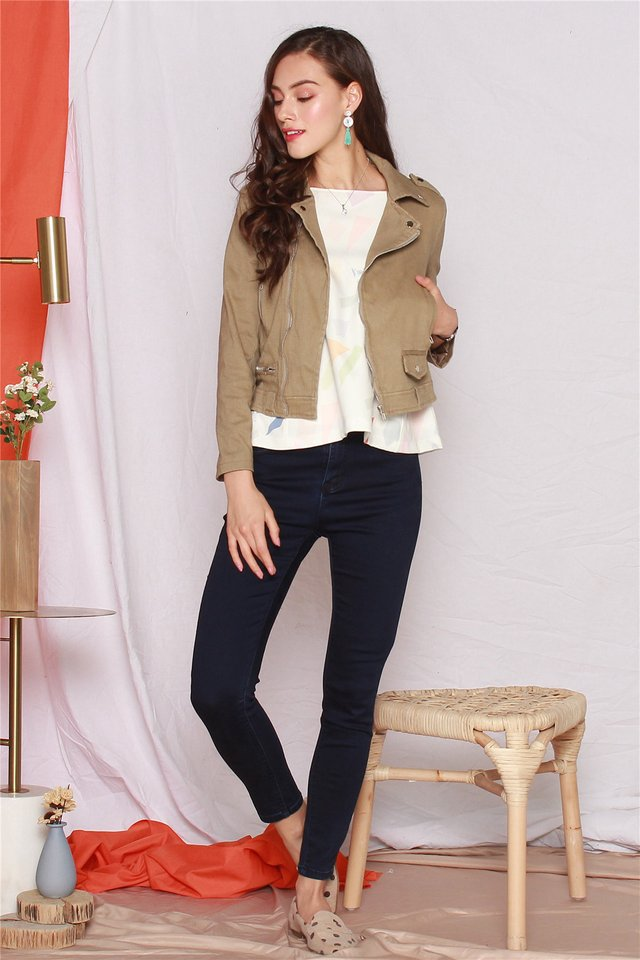 Zipper Structured Jacket in Olive