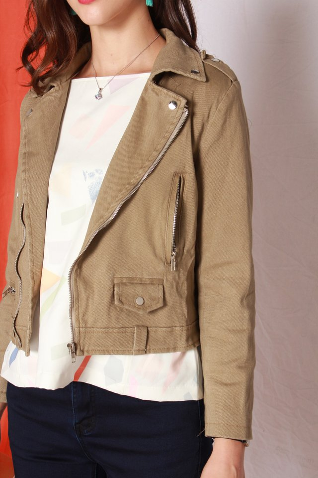 *BACK IN STOCK* Zipper Structured Jacket in Olive
