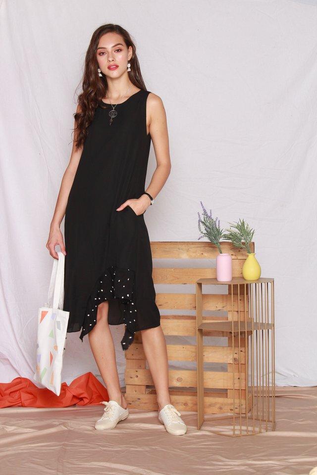 Polka Dot Tiered Hem Midi Dress in Black