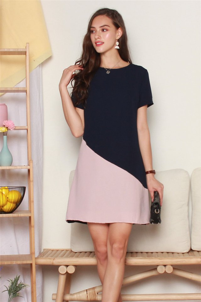 ACW Sleeve Colourblock Shift Dress in Navy-Pink