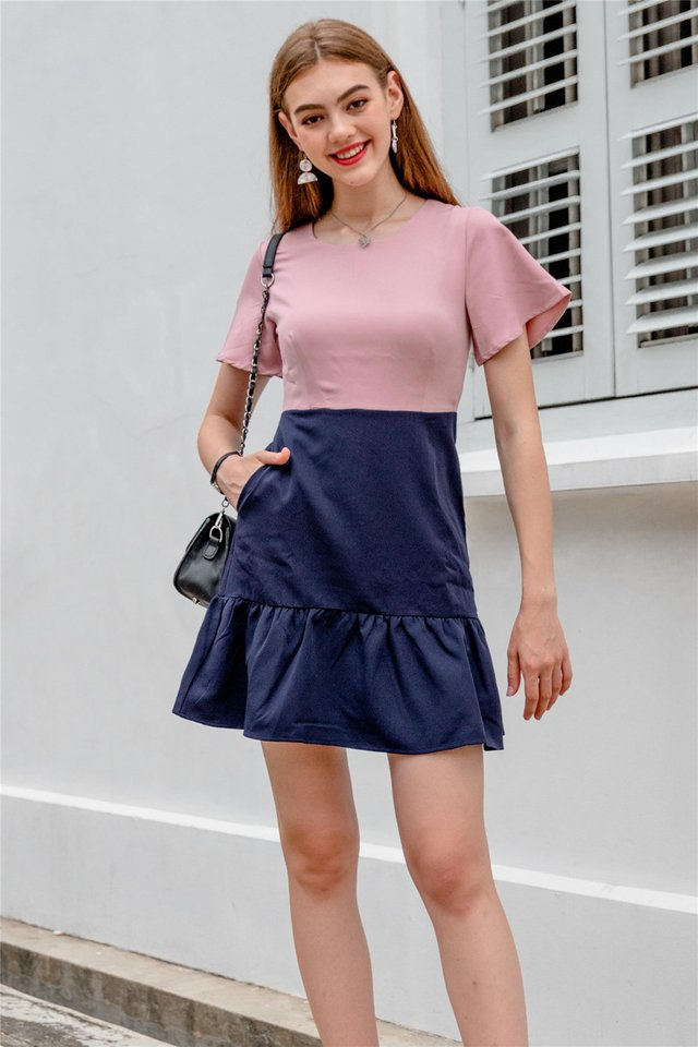 Colourblock Flutter Sleeve Drophem Dress in Dusty Pink