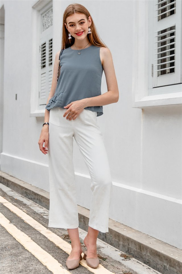 Straight Cut Pocket Culottes in White