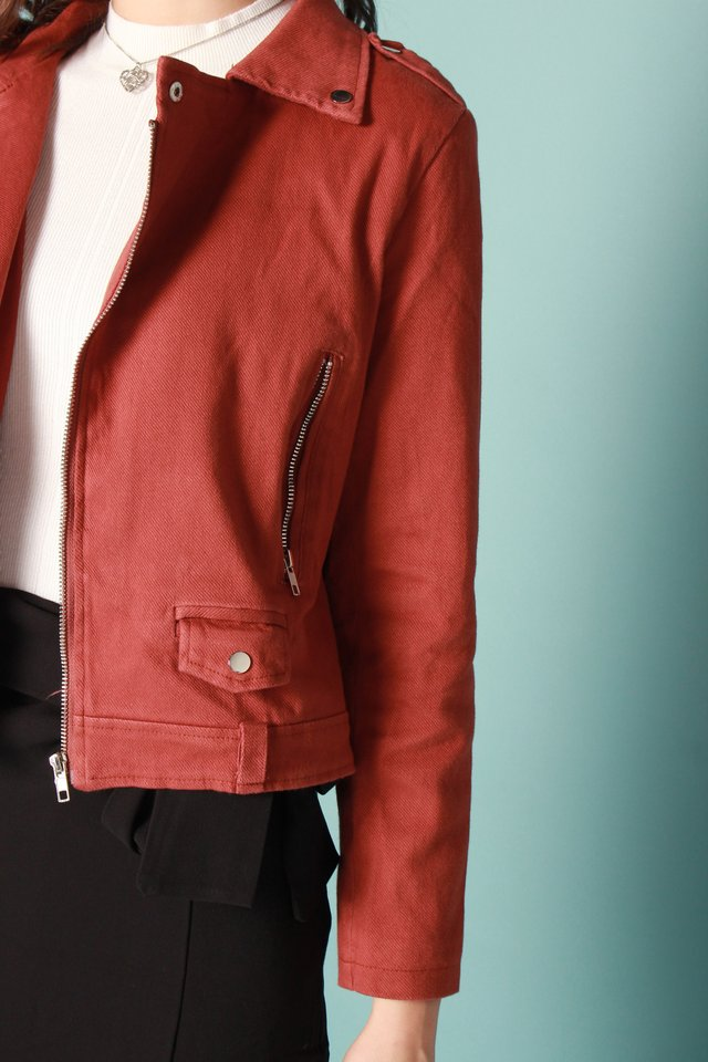 *BACK IN STOCK* Zipper Structured Jacket in Rust