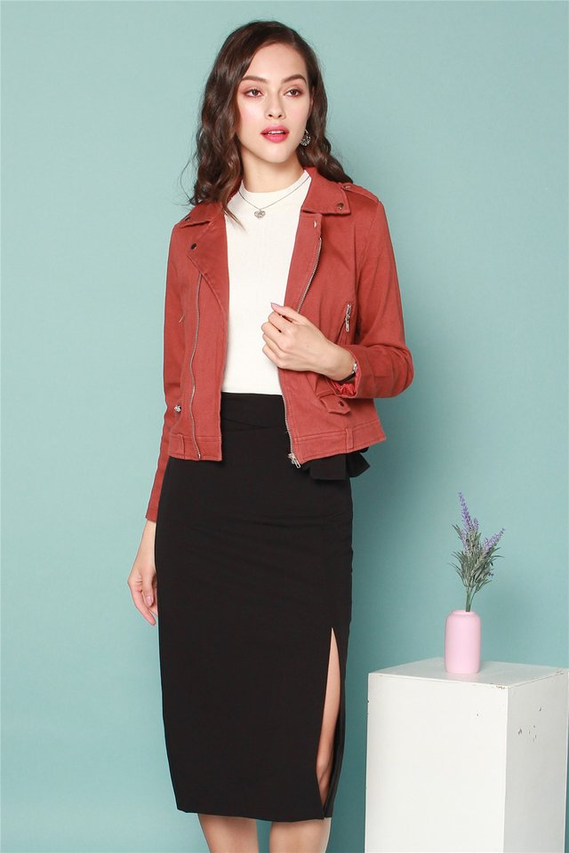 Zipper Structured Jacket in Rust