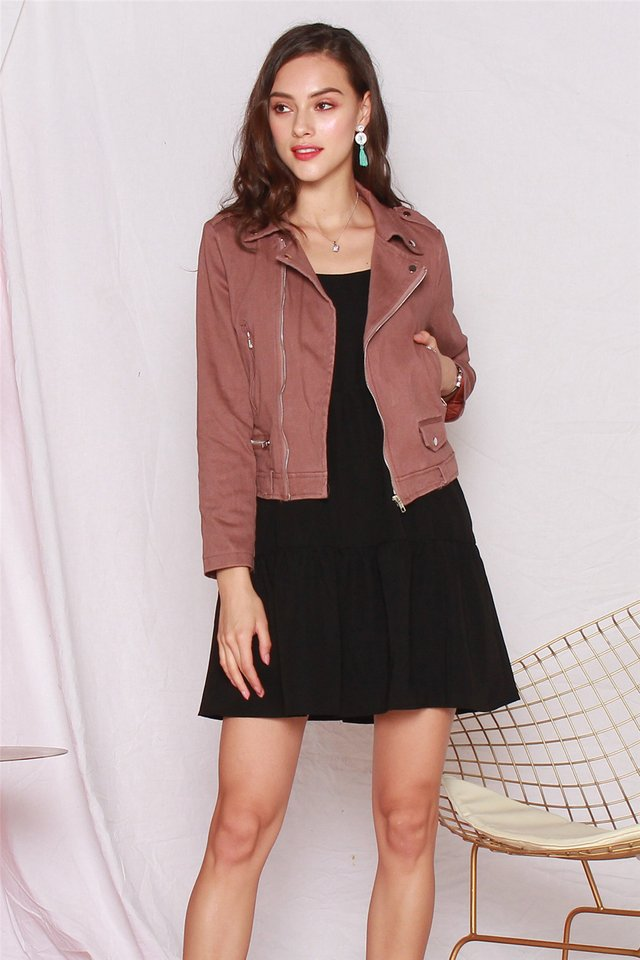 *BACK IN STOCK* Zipper Structured Jacket in Mauve