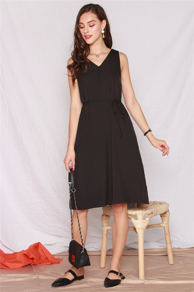 ACW Button Flowy Midi Dress in Black