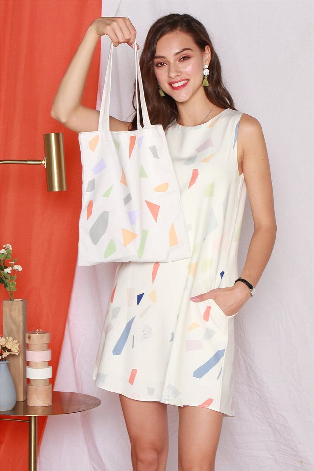 ACW Coloured Shapes Trapeze Dress in White