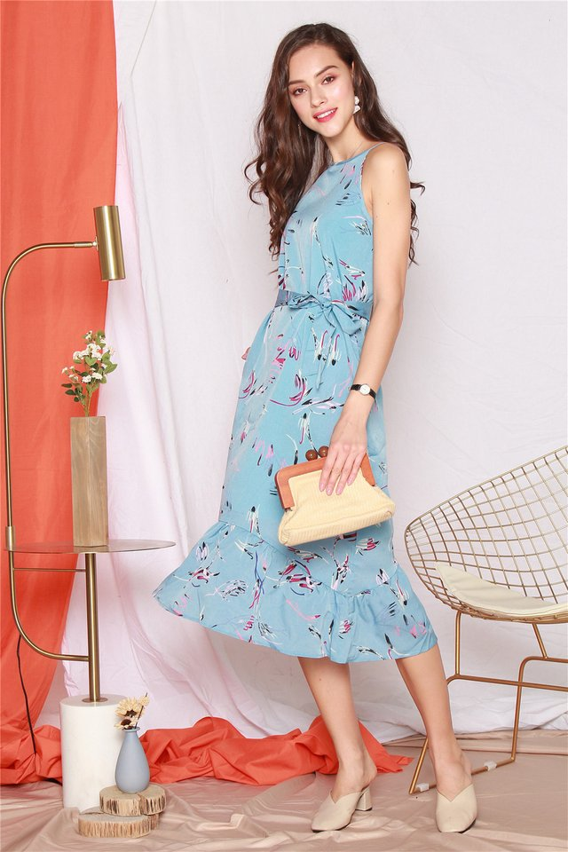 Coloured Feather Printed Dropwaist Midi Dress in Light Blue