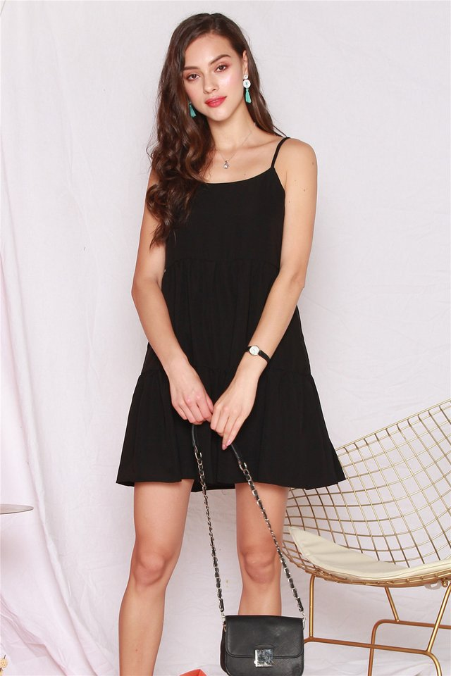 ACW Cami Tiered Babydoll Dress in Black