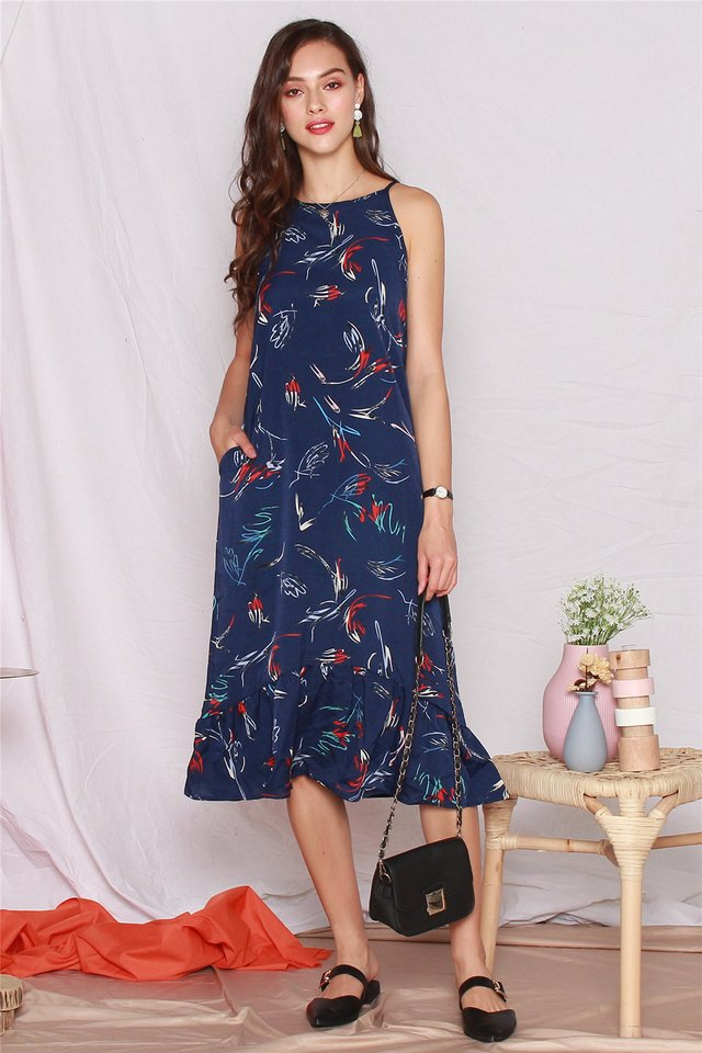 Coloured Feather Printed Dropwaist Midi Dress in Navy