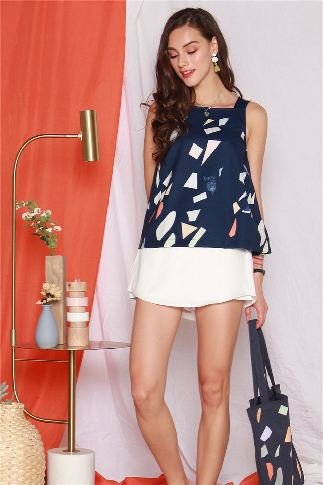 ACW Coloured Shapes Cut In Top in Navy