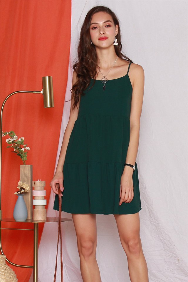 ACW Cami Tiered Babydoll Dress in Emerald