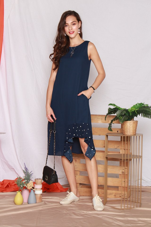 *BACK IN STOCK* Polka Dot Tiered Hem Midi Dress in Navy