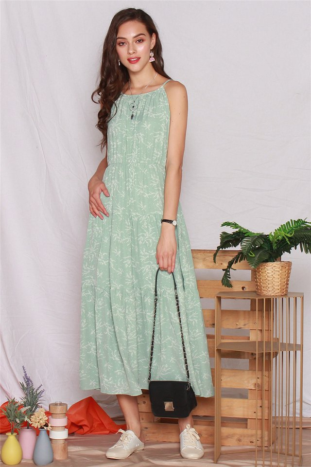 Printed Tiered Maxi Dress in Jade