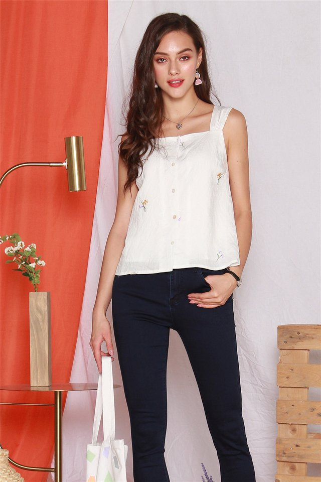 ACW Embroidery Button Down Strap Top