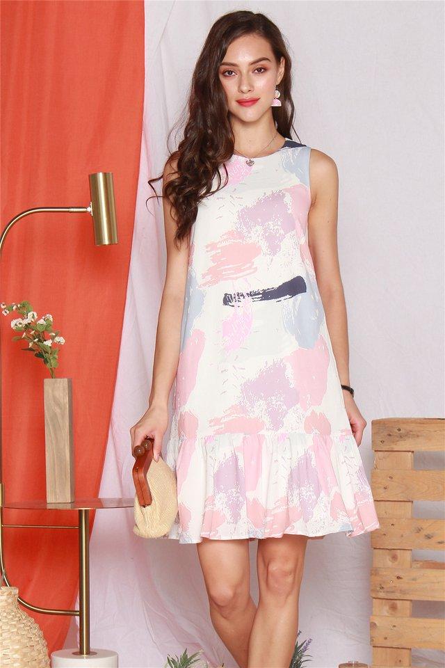 Paint Palette Dropwaist Midi Dress in Mauve