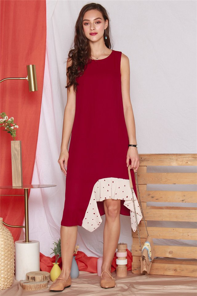 Polka Dot Tiered Hem Midi Dress in Wine