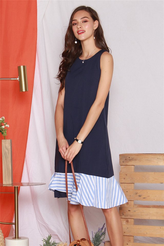 Denim Pinstripe Midi Dress in Dark Wash
